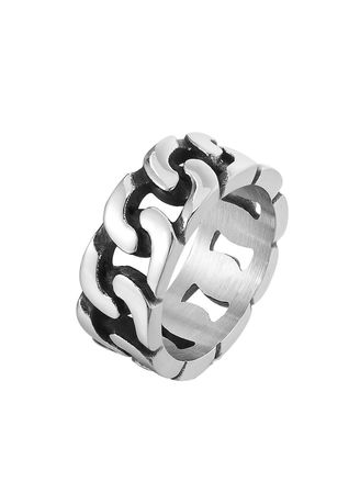 Silver color Rings . Personality Punk Men's Car Chain Titanium Steel Ring -