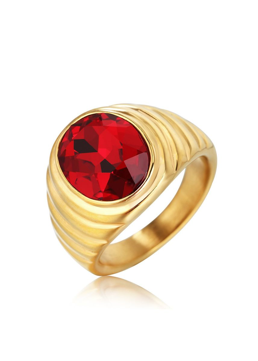 Red color Rings . Personalized Vintage Gemstone Men's Titanium Steel Ring -