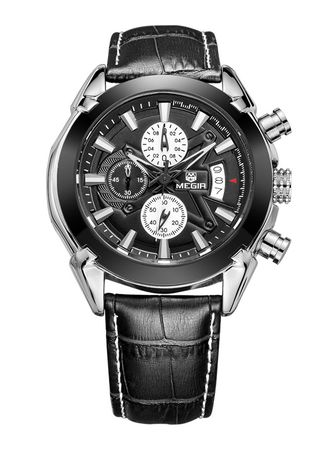Black color Chronographs . Fashion Round Dial Men's Quartz Watch -