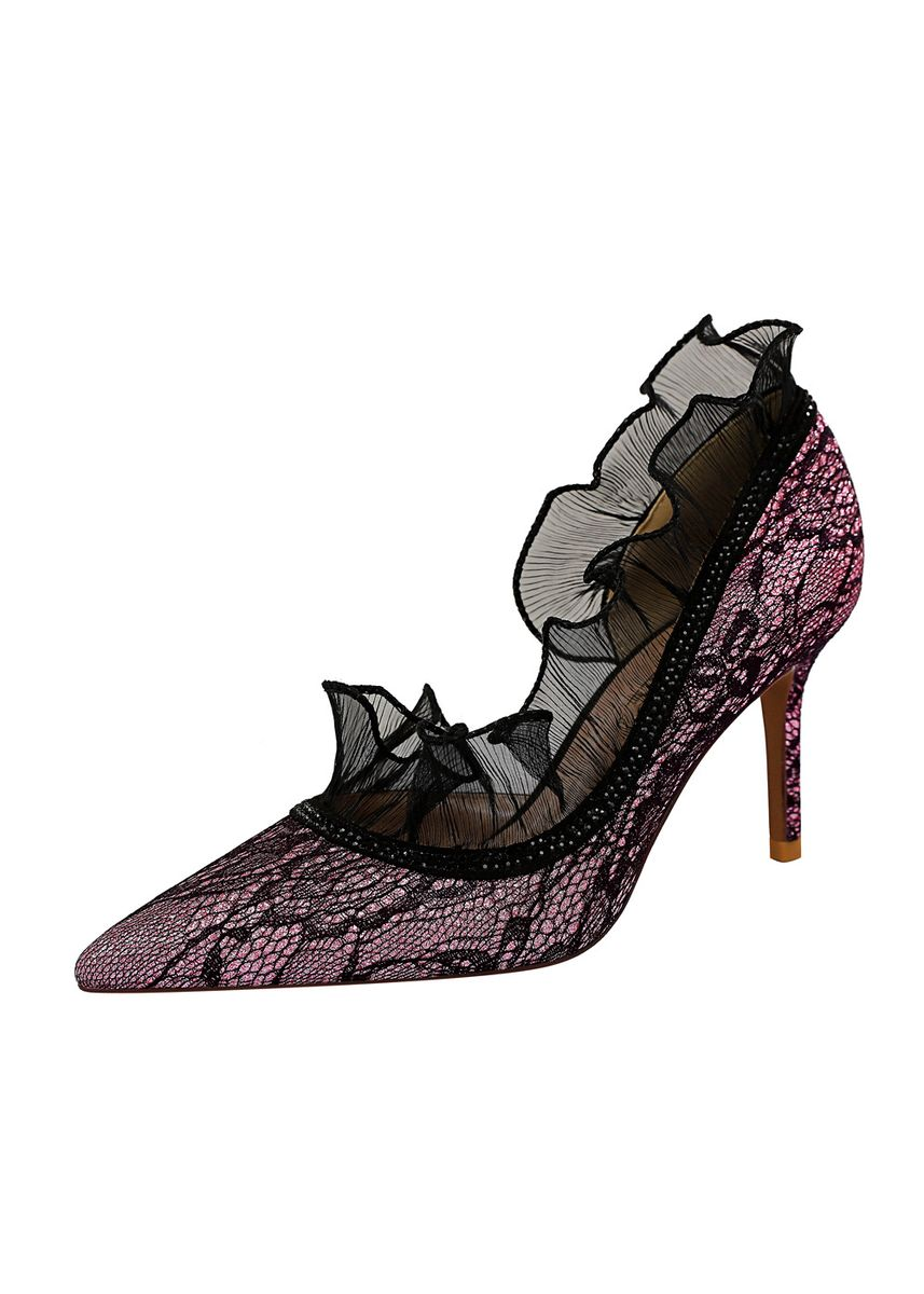 Purple color Heels . Women Fashion Lace Hollow Out Pointed Heels -