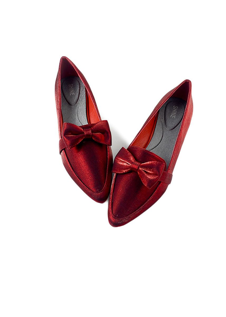 Red color Flats . Shine Bow Point Toe Classic Loafers -
