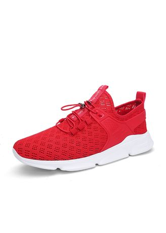 Red color Sports Shoes . Breathable Mesh Sport Fitness Running Shoes -