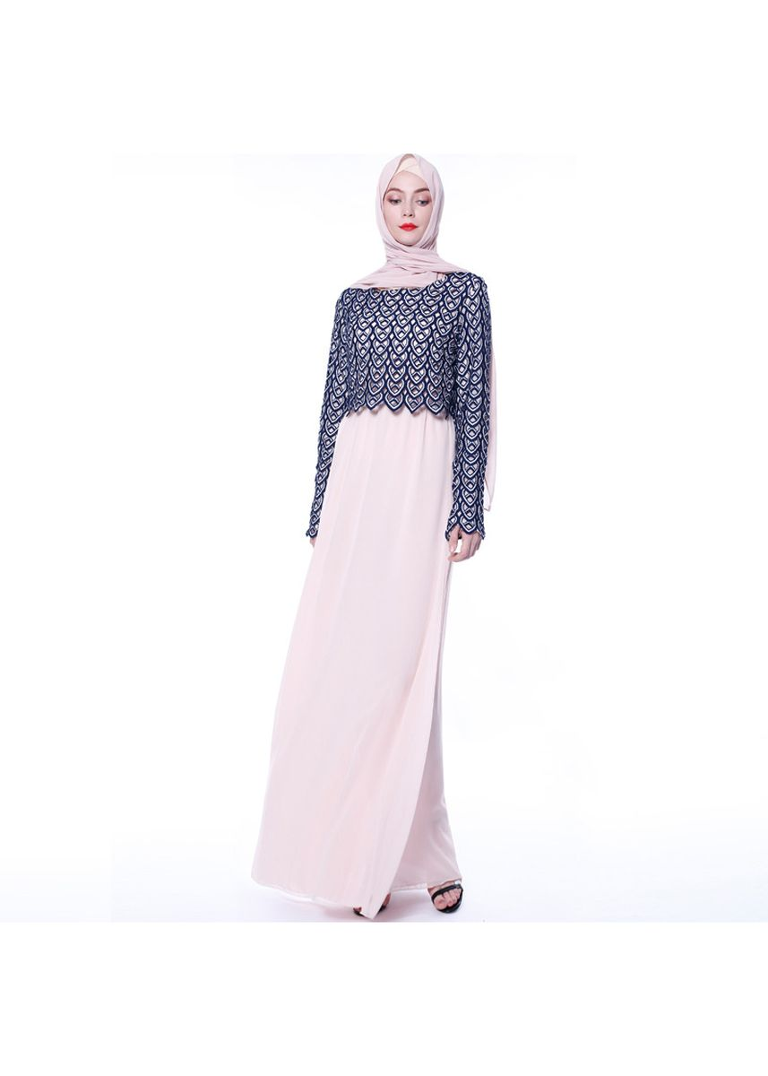 ชมพู color เดรส . Women's Muslim Fashion Dress Maxi Dress -