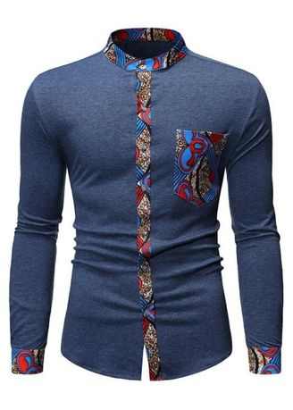Light Blue color Casual Shirts . Tribal Print Casual Style Long Sleeves Shirt -