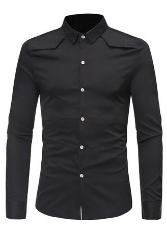 Black color Casual Shirts . Solid Color Button Down Long-sleeved Base Shirt -