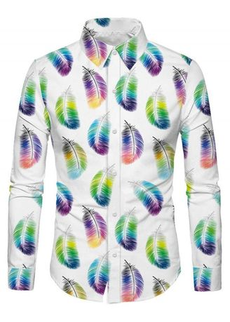 White color Casual Shirts . Casual Feather Print Long Sleeves Shirt -