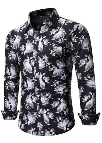 Black color Casual Shirts . Chinese Ink Floral Print Pockets Button Up Shirt -