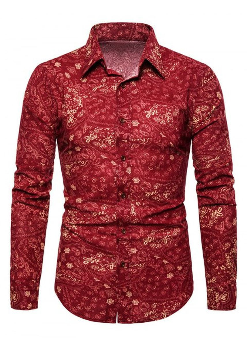 Red color Casual Shirts . Tribal Print Long Sleeves Leisure Shirt -