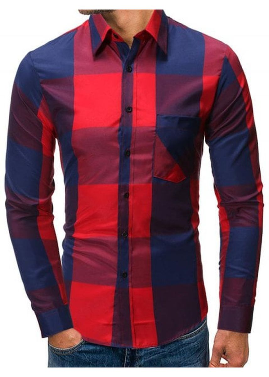 Red color Casual Shirts . Chest Pocket Checkered Contrast Color Long Sleeve Shirt -