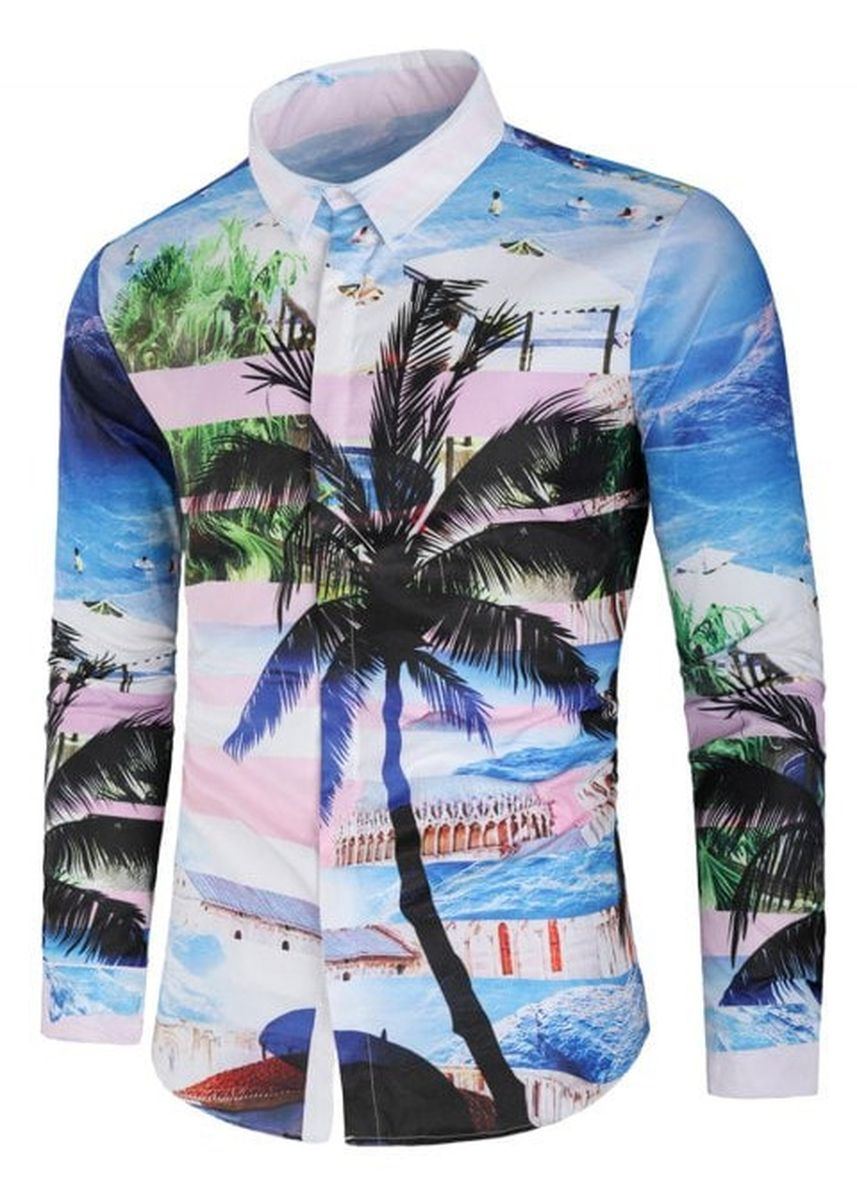 Multi color Casual Shirts . Sea Beach Scenery Coconut Palm Print Casual Shirt -