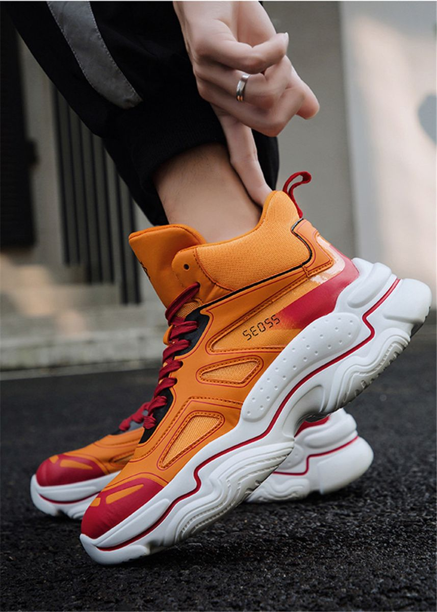 Orange color Casual Shoes . Men's High-top Fashion Retro Sneaker Shoes -