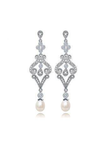 White color  . Pave Setting Vintage AAA Grade Cubic Zircon Pearl Drop Earring  -