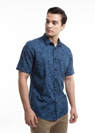 Blue color Casual Shirts . MANLY Kemeja Slim Fit Gala -