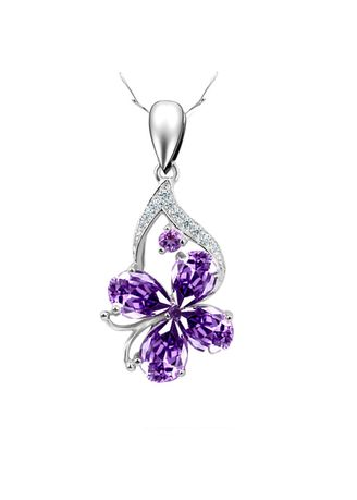 Purple color  . White Crystal Necklace Pendant Sterling Silver -