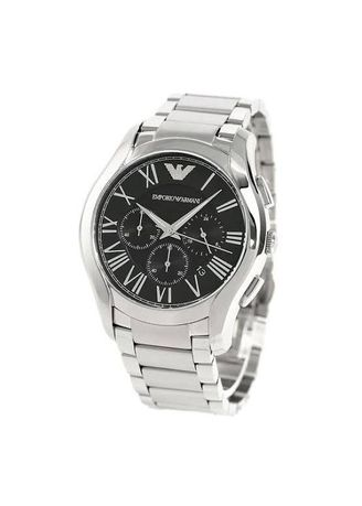 Silver color Analog . นาฬิกาข้อมือผู้ชาย ARMANI Chronograph Black Dial Silver Tone Stainless Steel Bracelet Men Watch AR11083 -