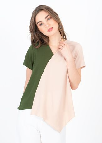Khaki color Tops and Tunics . Avary Nude Green Top -