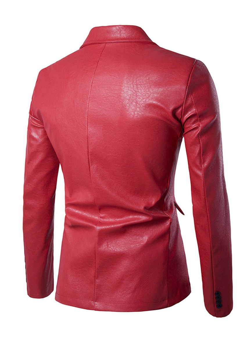 Red color Blazers . Men's Casual Party Solid Leather Blazers -