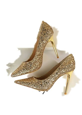 Yellow color Heels . Women's Shiny Pointed Shoes -