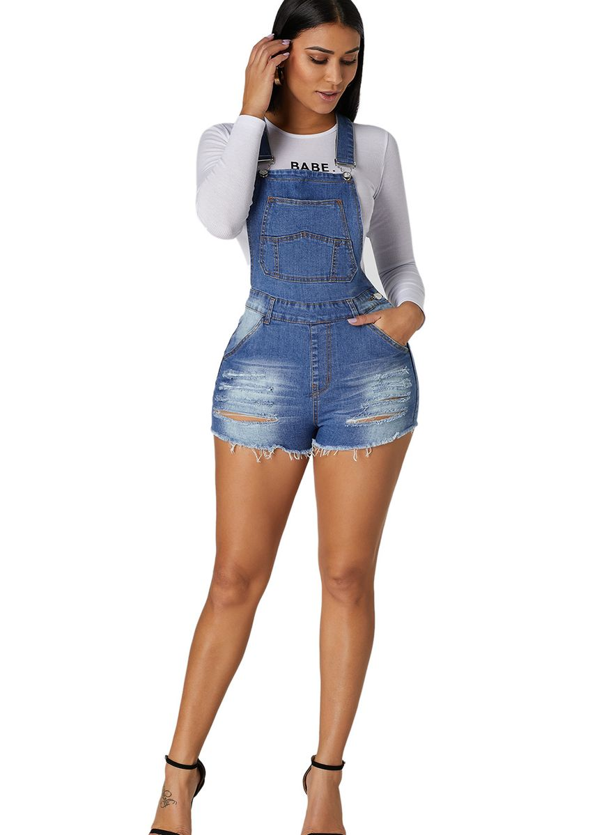 Light Blue color Shorts . Raw Hem Ripped Denim Short Overall -