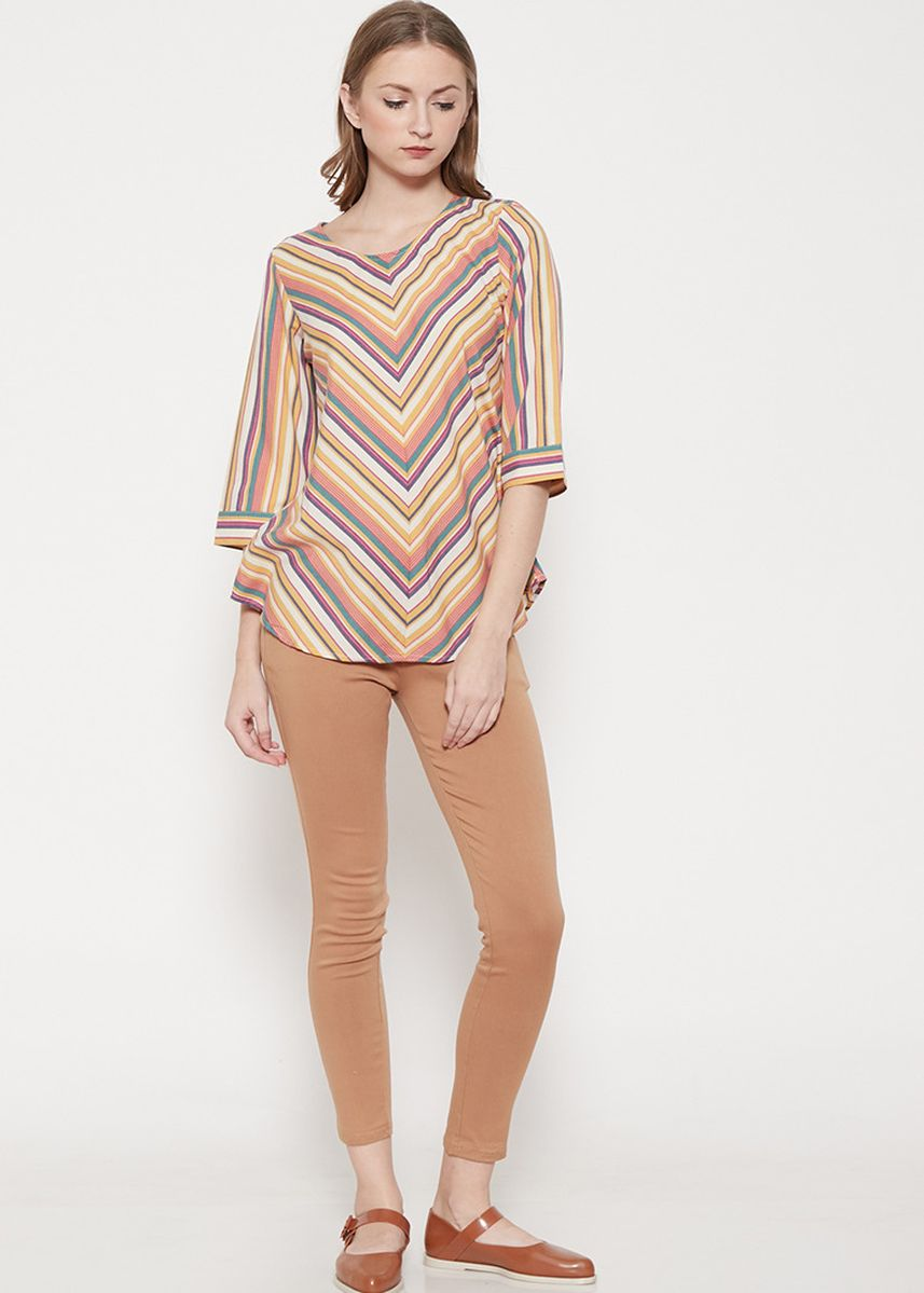 Yellow color Tops and Tunics . GRAPHIS Stripe Blouse -