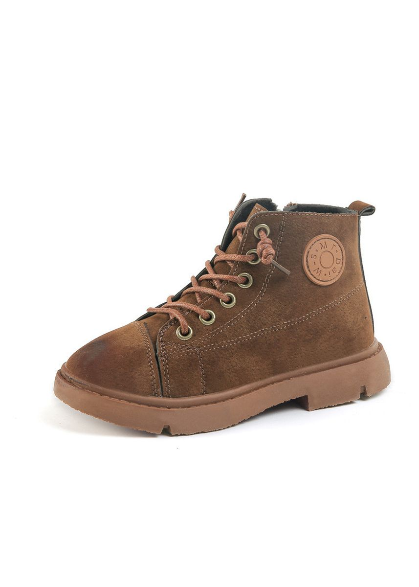 Brown color Footwear . Martin Boots Girls Children's Shoes Boys And British Wind Single -