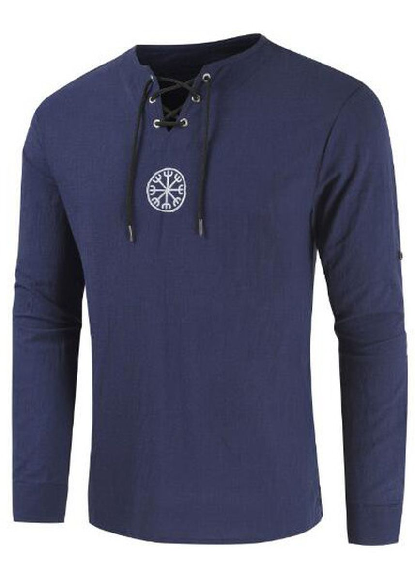 Navy color T-Shirts and Polos . Casual Men's Long-sleeved T-shirt -