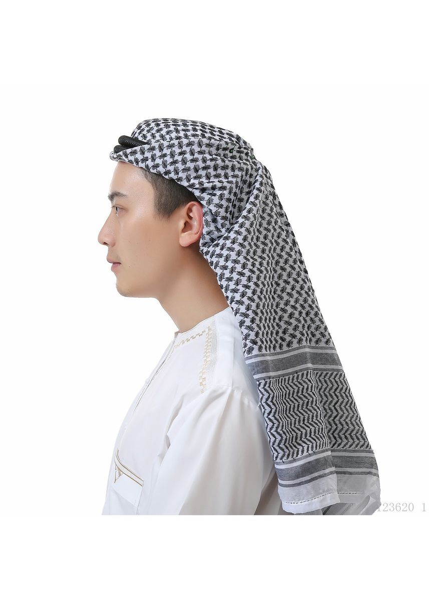 ดำ color Sholat Equipment . Muslim Men's Headscarves Wrapped Around Saudi Headscarves Headband -