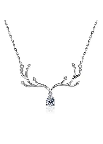 Silver color  . Romantic 925 Sterling Silver Long Deer Antlers Necklaces Pendants for Women  -