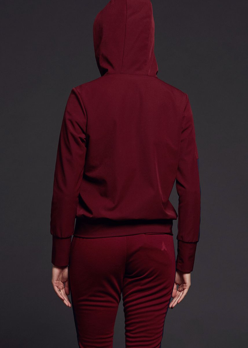 Maroon color Sports Wear . AvelxAlden Axa Parkave Hoodie Jacket -