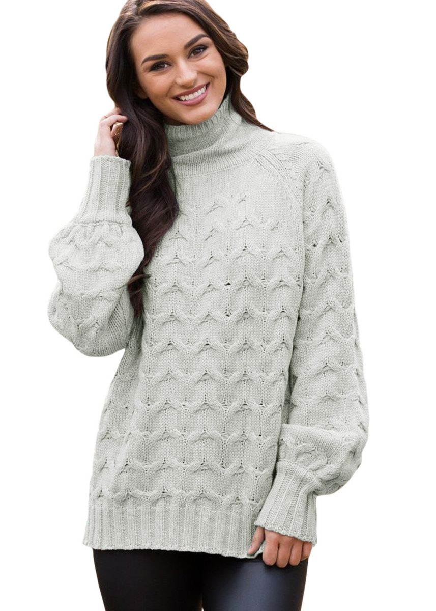 Grey color Jackets . Cable Knit High Neck Sweater for Women -