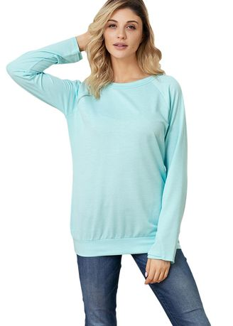 Light Blue color Jackets . Gold Zip Detail Pullover Sweatshirt -