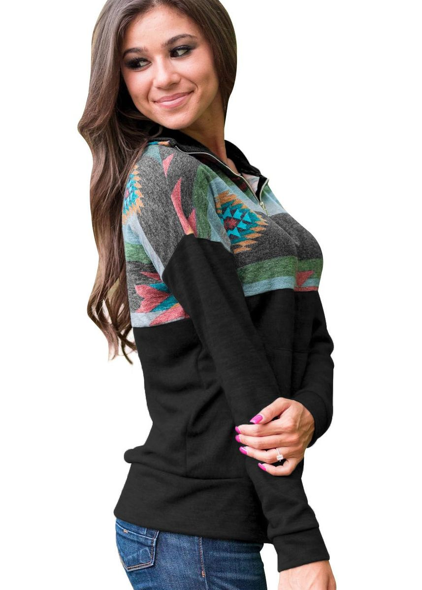 Black color Jackets . Aztec Print Atop Pullover Sweatshirt -
