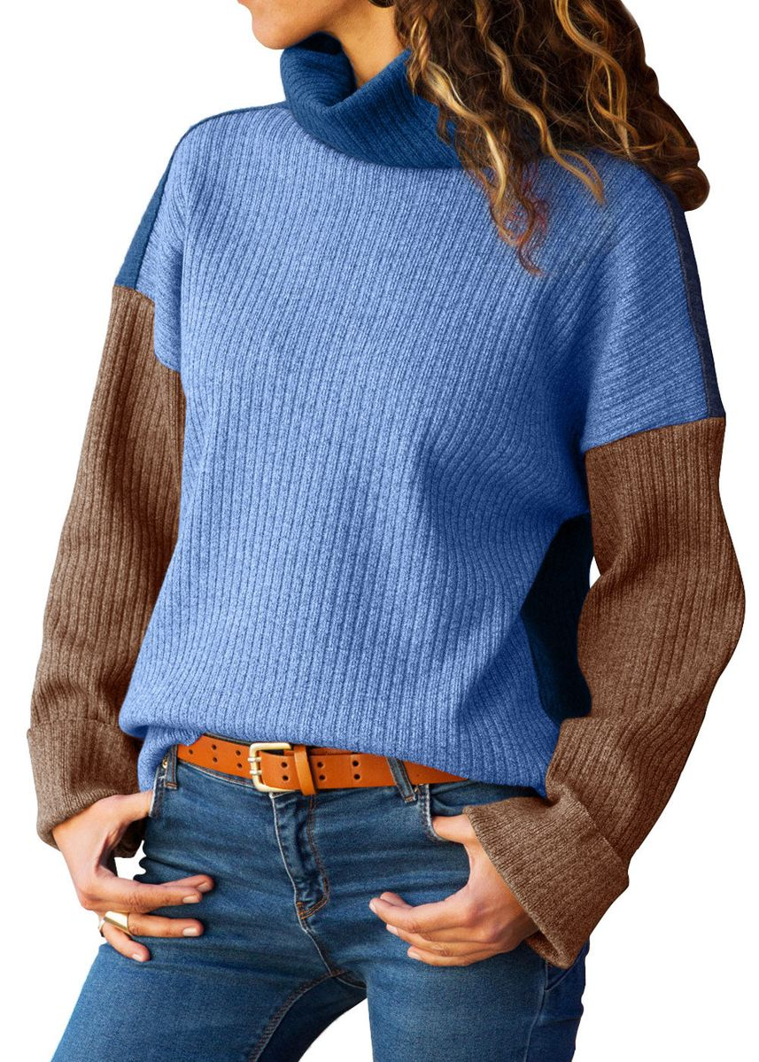 Blue color Jackets . Patchwork Ribbed High Neck Sweater -