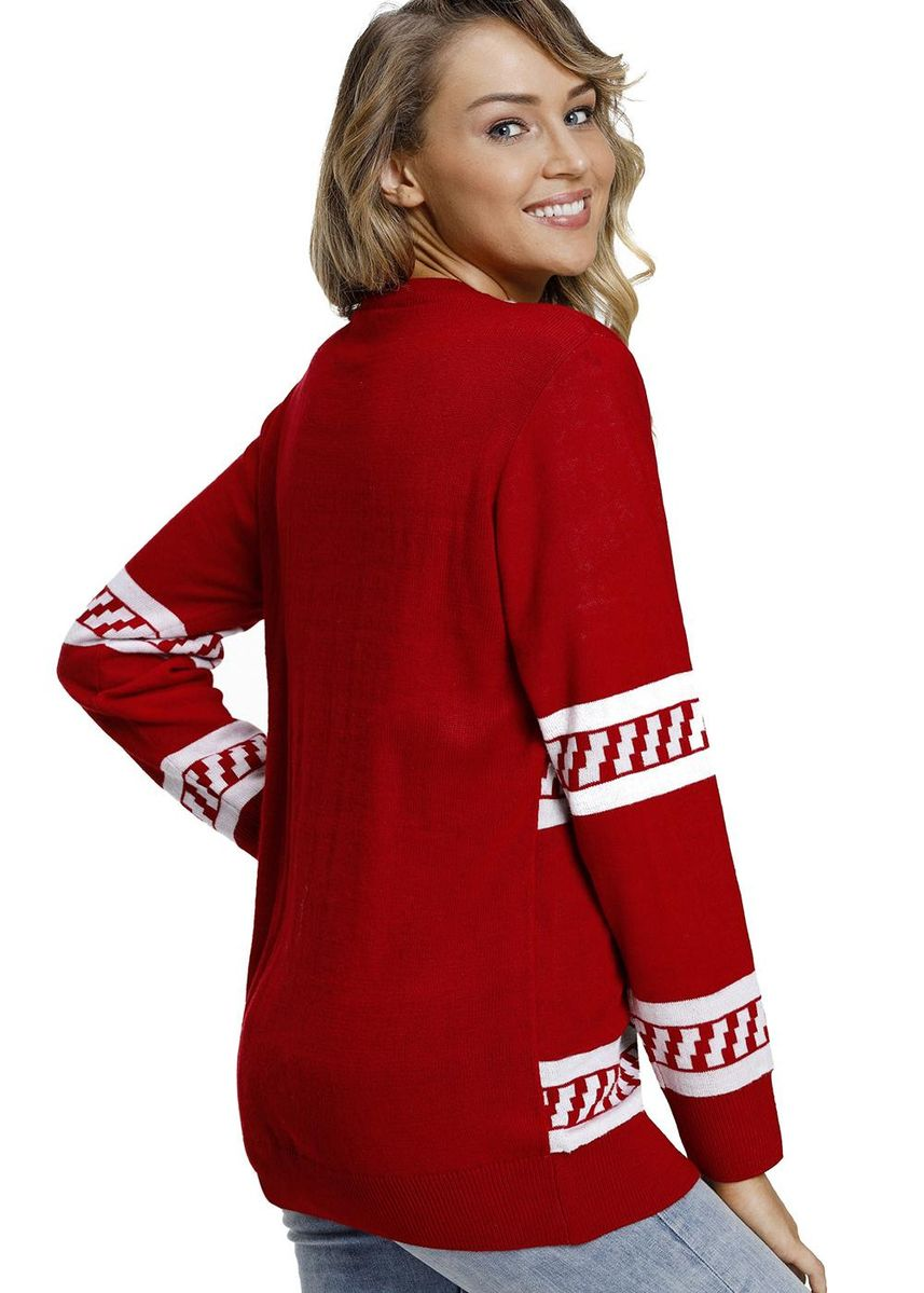 Red color Jackets . Reindeer Jump Over Ugly Christmas Sweater -
