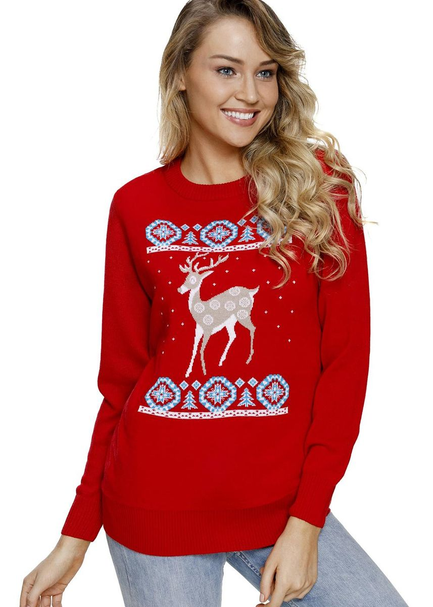 Red color Jackets . Adorable Reindeer In the Snow Christmas Sweater -