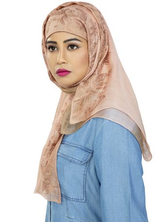 Beige color Hijab . ROYAL OMBRE BORDER EMBROIDERED HIJAB  -