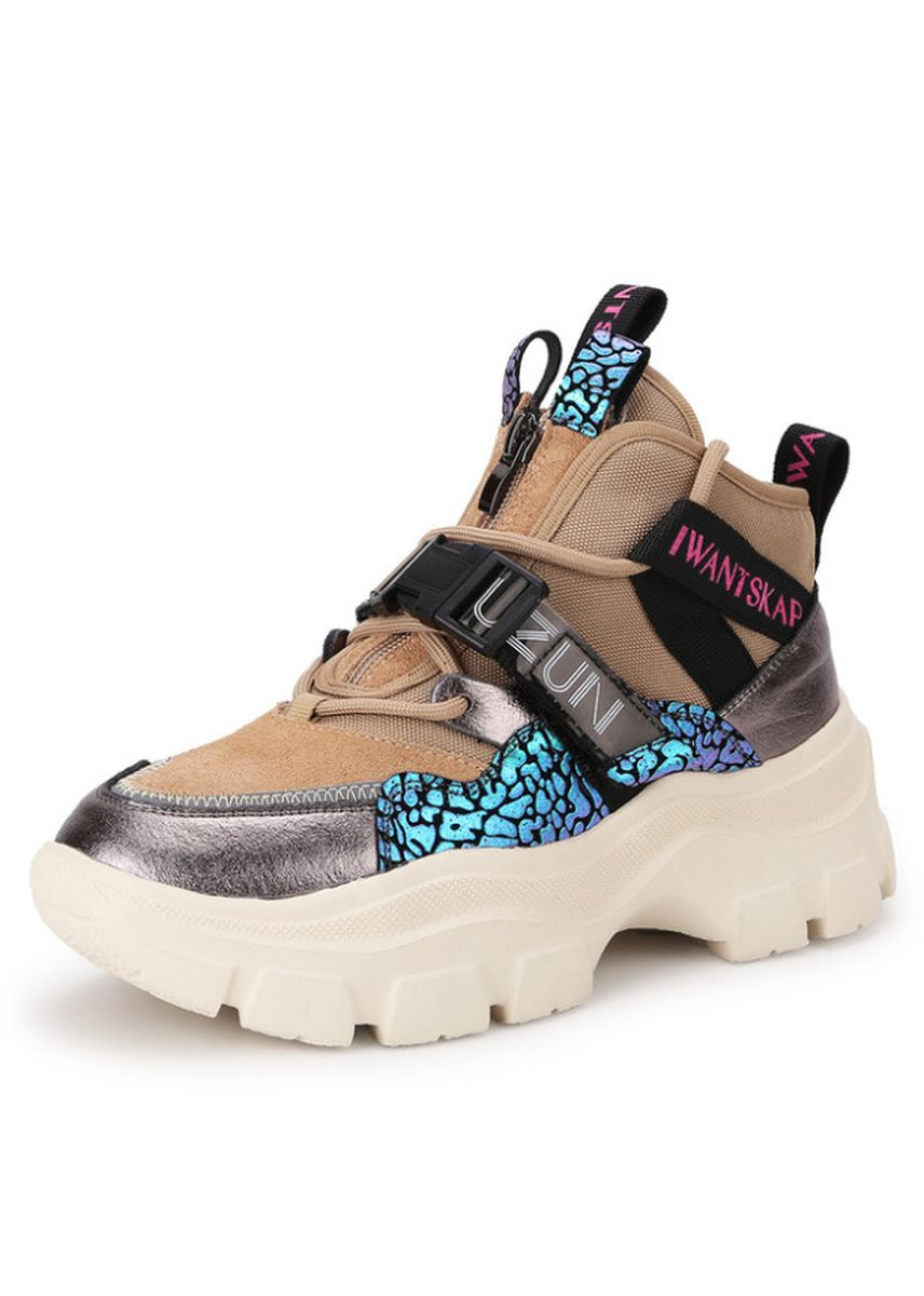 Khaki color Casual Shoes . Leather Platform Muffin Casual Sneakers -