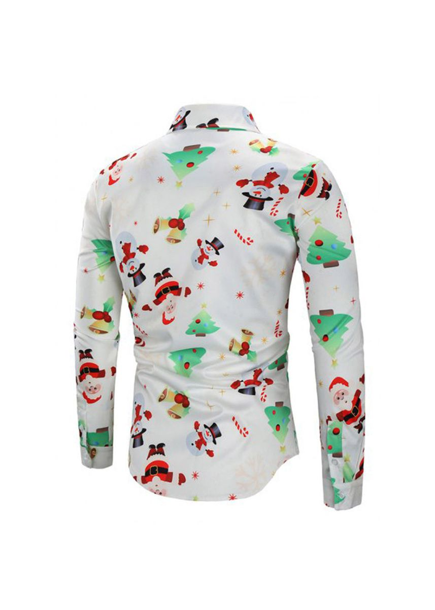 White color Casual Shirts . Christmas Snowman Print Causal Shirt Blouse -