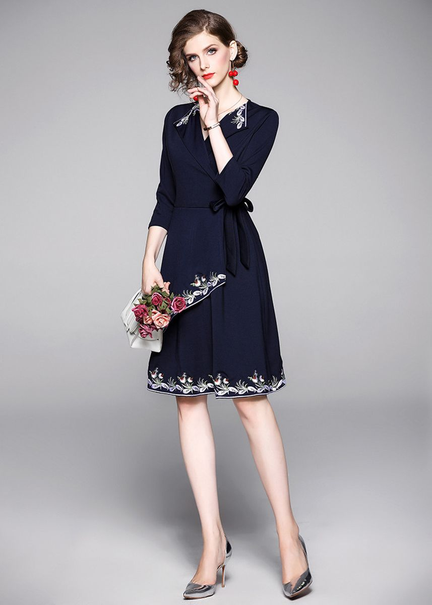Blue color Dresses . Mid-length Solid Color Embroidered Dignified Knitted Dress -