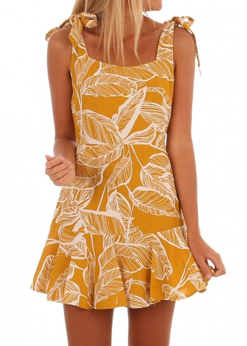 เหลือง color เดรส . Leaf Vein Print Mustard Tie Shoulder Dress -