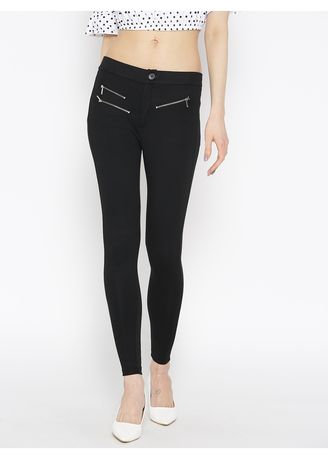 Black color Leggings . Women's Leggings With Zip Detailing -
