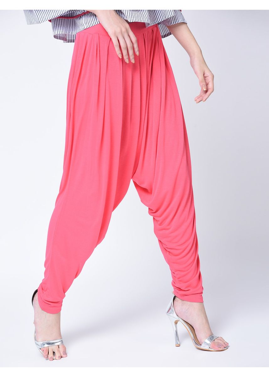 Pink color Leggings . Women's Pink Flared Palazzo -