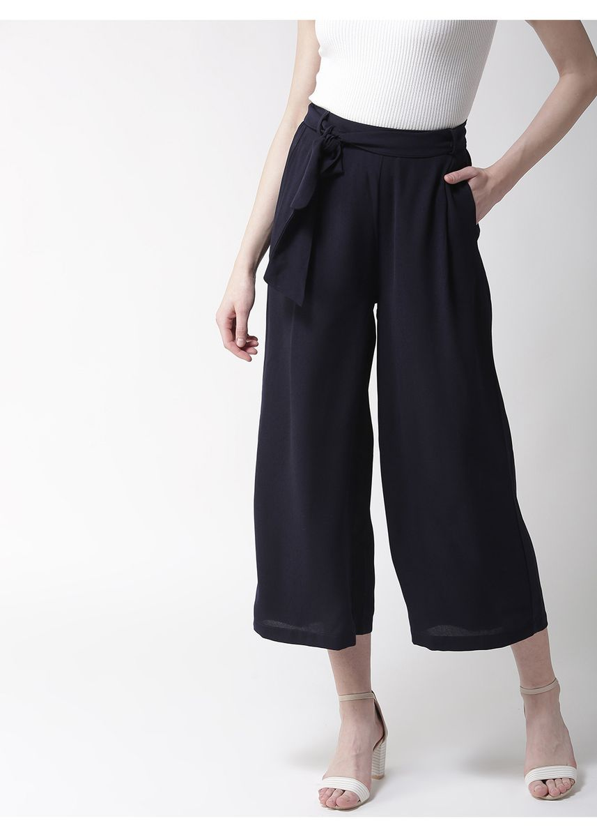 Navy color Trousers . Flared Palazzo -