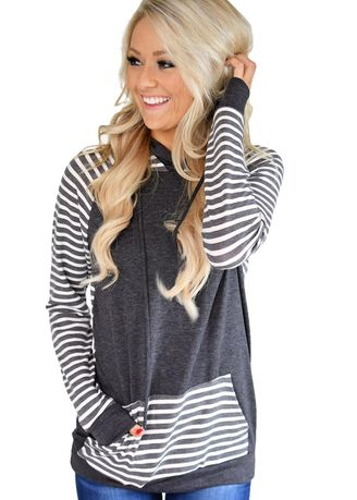Black color Jackets . Double Hooded Striped Sweatshirt -