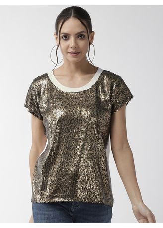 Gold color Tops and Tunics . Round Neck Sequin Top -