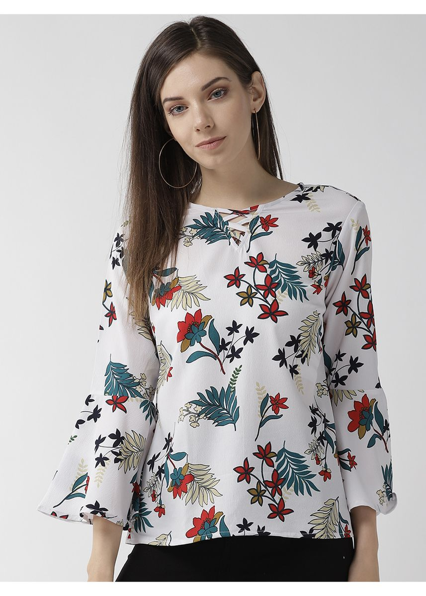 White color Tops and Tunics . Floral Printed Flared Sleeve Blouse -