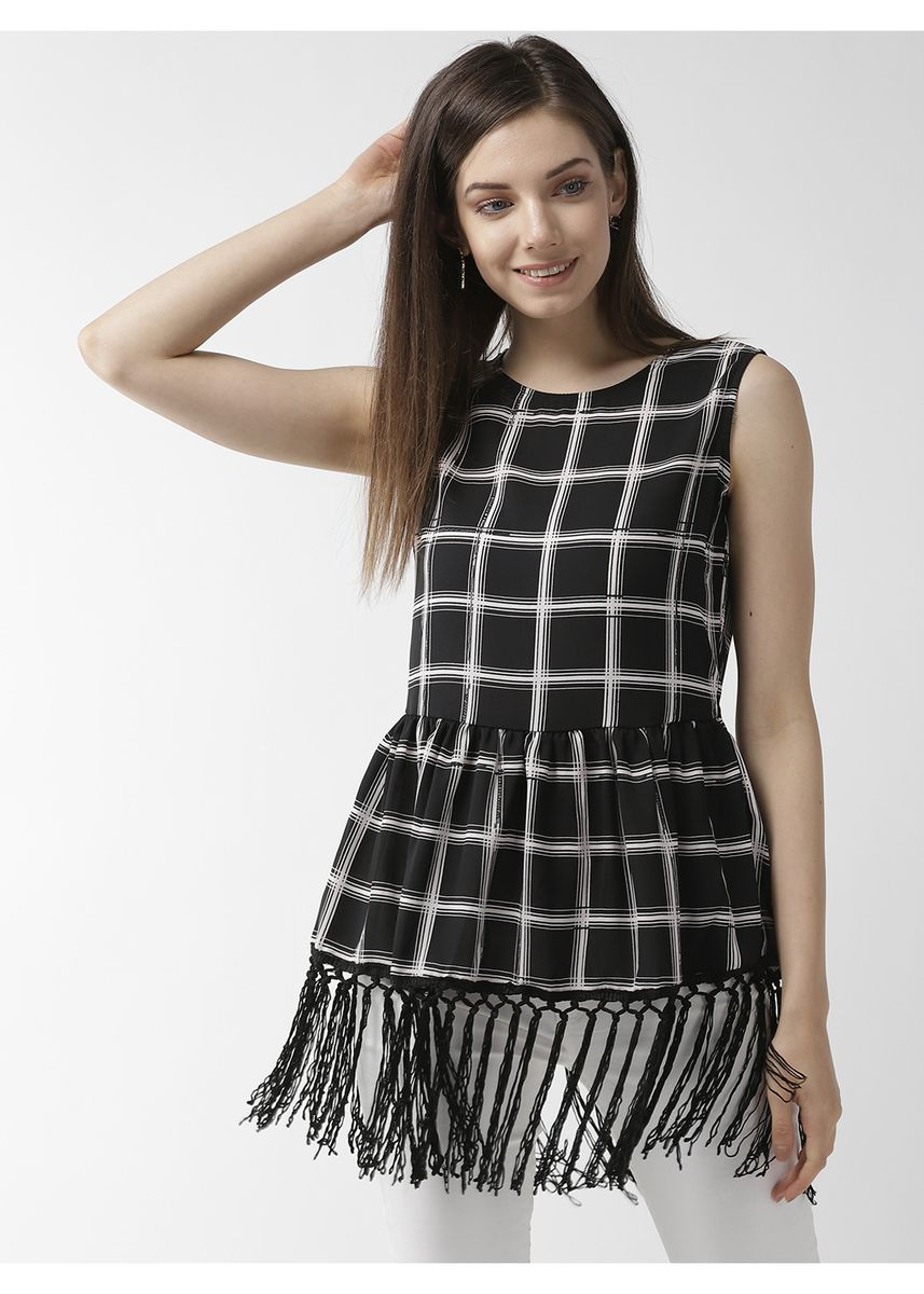 Black color Tops and Tunics . Check Print Fringed Sleeveless Top -