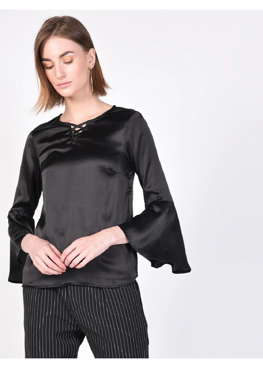 Black color Tops and Tunics . Solid Black Peep-Cage Top -