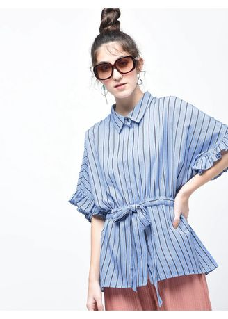 Blue color Tops and Tunics . Tie-me Cami Striped Top -