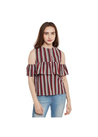 Red color Tops and Tunics . Striped Cold Shoulder Top -